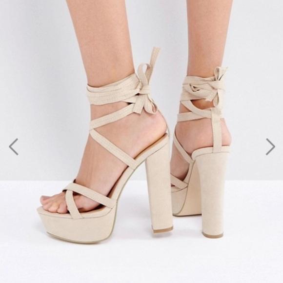 24b26b5d0d ASOS Shoes | Lace Up Nude Platform Heels Sandals | Poshmark